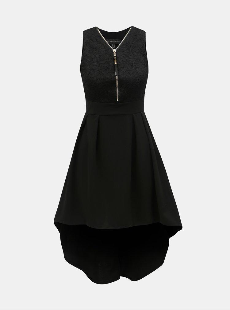 Černé šaty s krajkovým topem Mela London