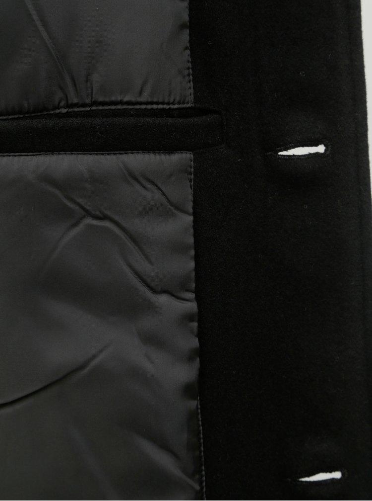 Pardesiu scurt negru din lana Lindbergh
