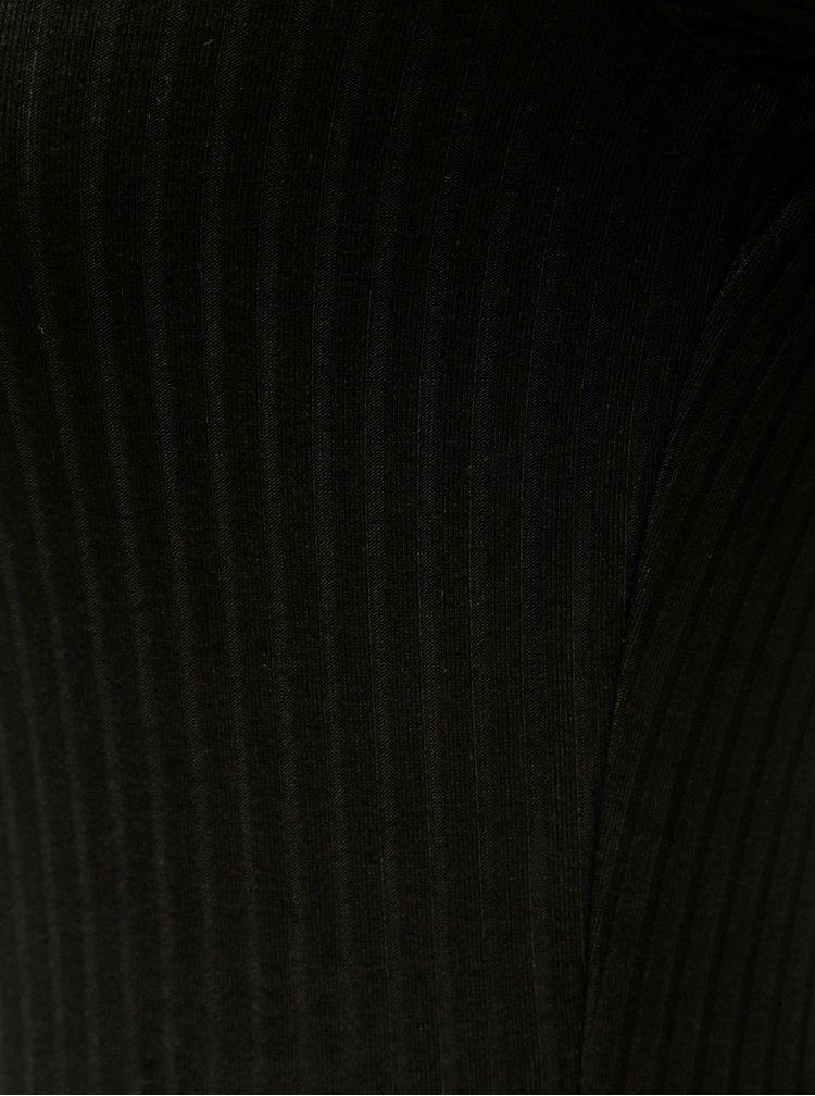 Černé žebrované body s výstřihem na zádech TALLY WEiJL