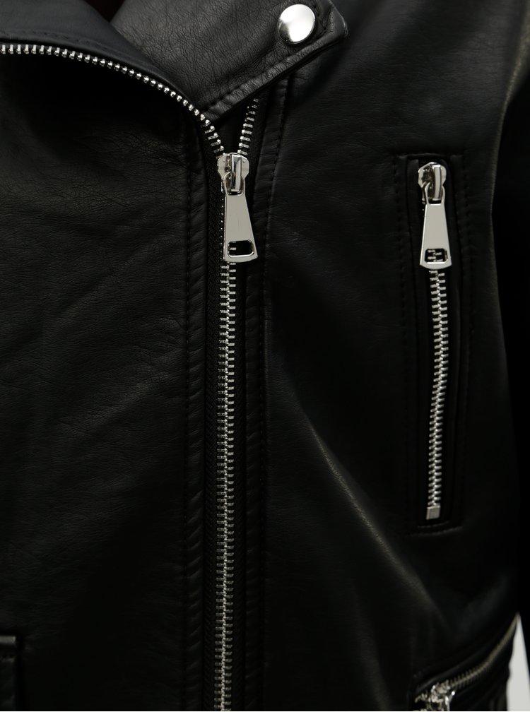 Jacheta biker neagra din piele sintetica cu cordon TALLY WEiJL