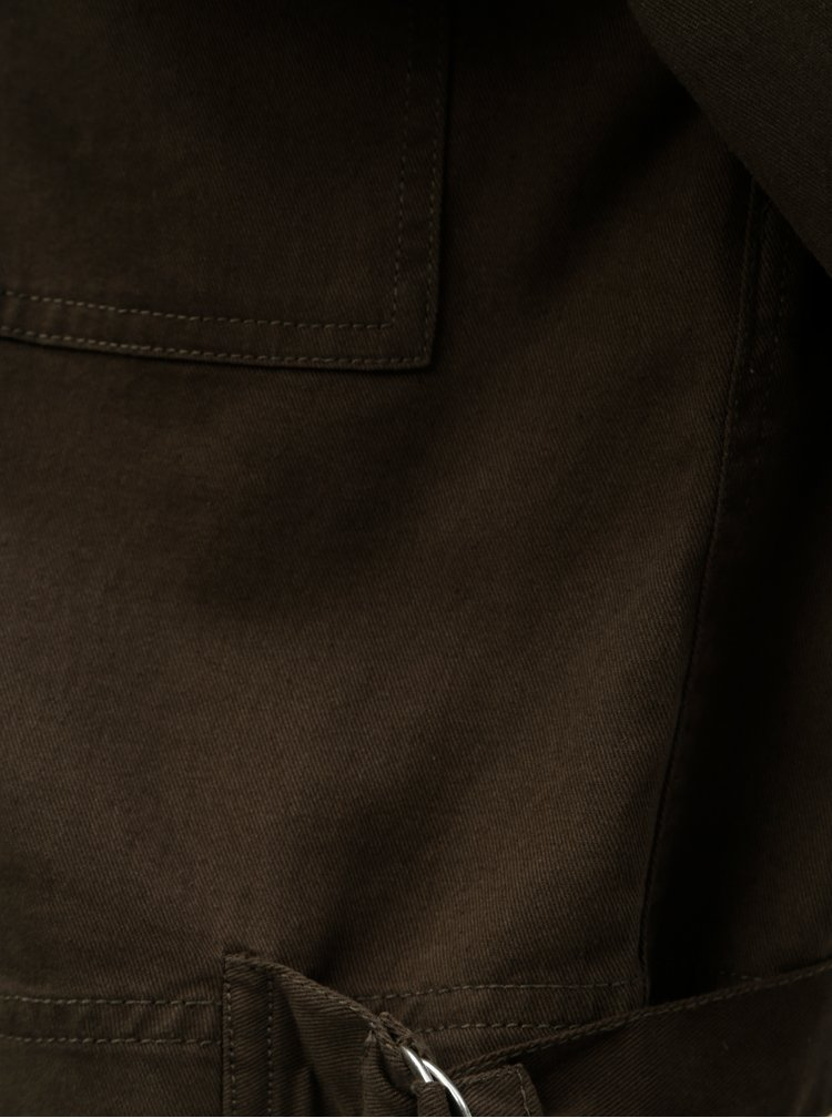 Kaki rifľová krátka bunda s kamienkami TALLY WEiJL