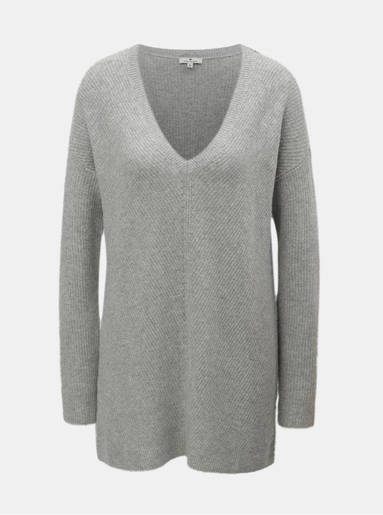 Šedý dámský dlouhý volný svetr Tom Tailor
