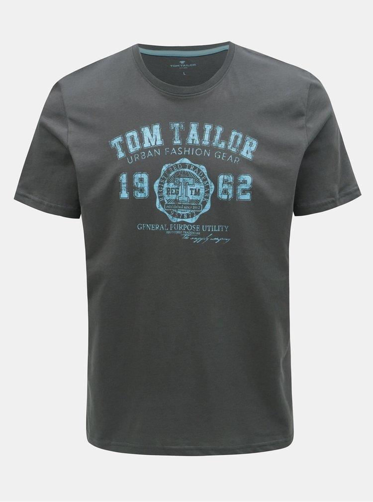 Tricou barbatesc gri cu imprimeu Tom Tailor