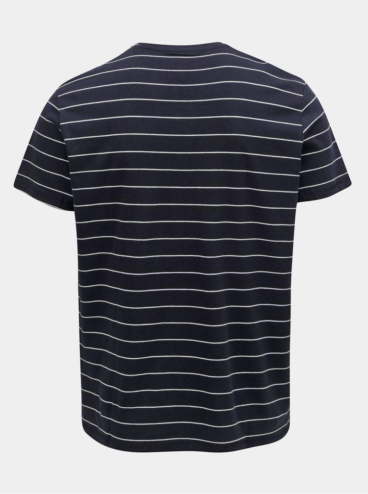 Tmavomodré pánske pruhované basic tričko Tom Tailor