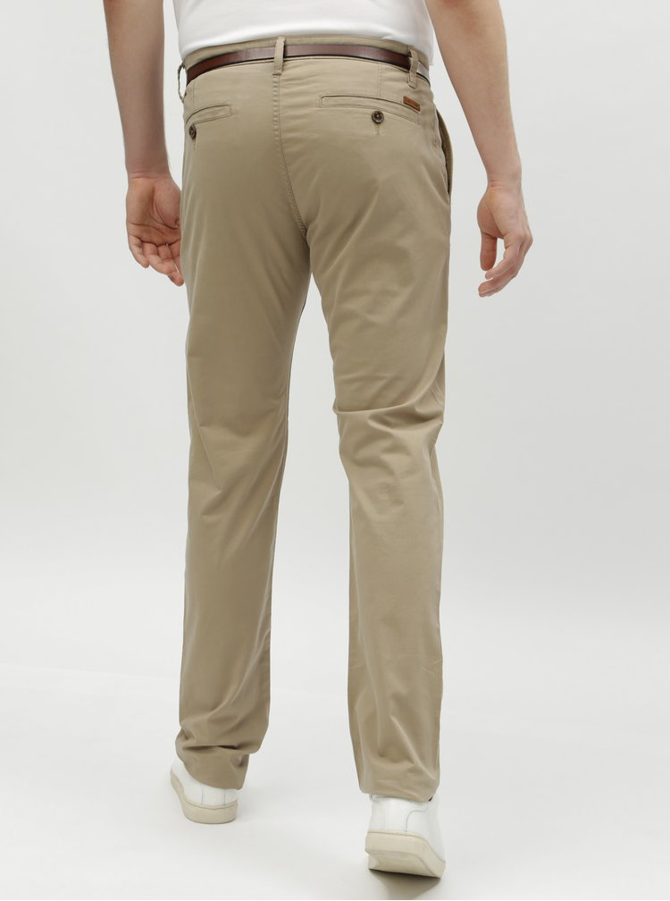 Béžové pánske chino nohavice s opaskom Tom Tailor
