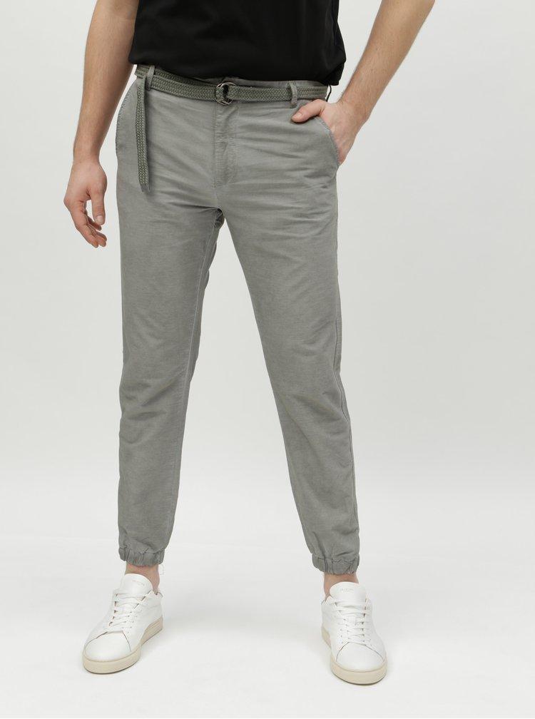 Zelené pruhované pánské chino kalhoty s páskem Broadway Fendi