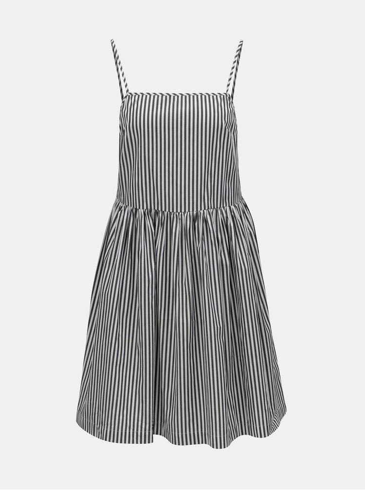 Bílo-černé pruhované šaty s krajkovým topem 2v1 French Connection Sardinia