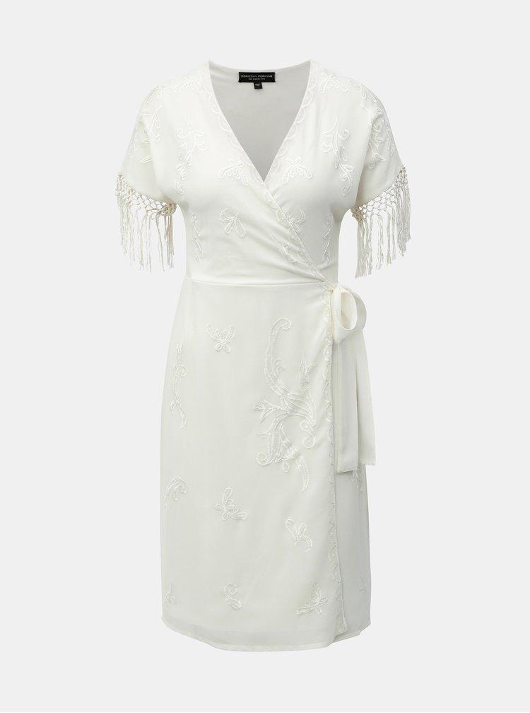 Krémové zavinovací šaty s korálkovou výšivkou a třásněmi Dorothy Perkins