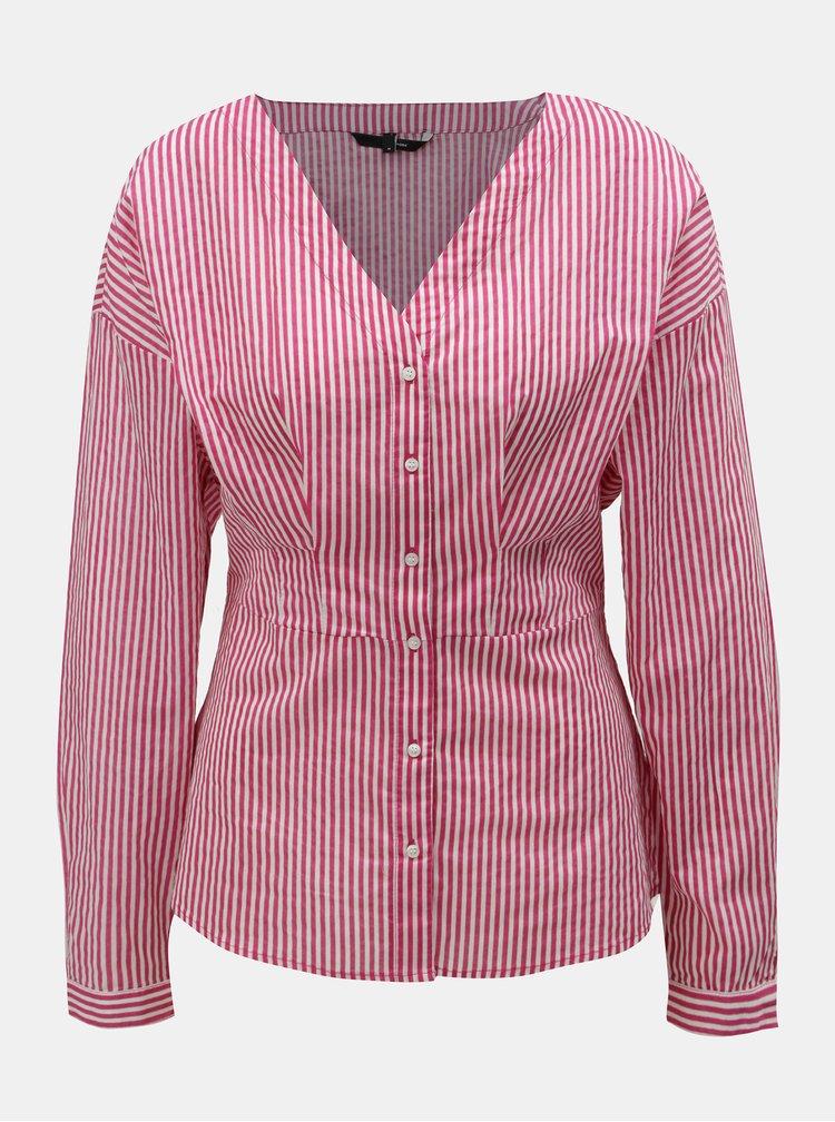 Bluza roz-alb pe corp cu decolteu in V VERO MODA Maji