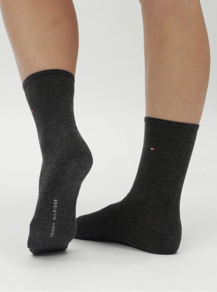 Sada dvou párů dámských ponožek v tmavě šedé barvě Tommy Hilfiger