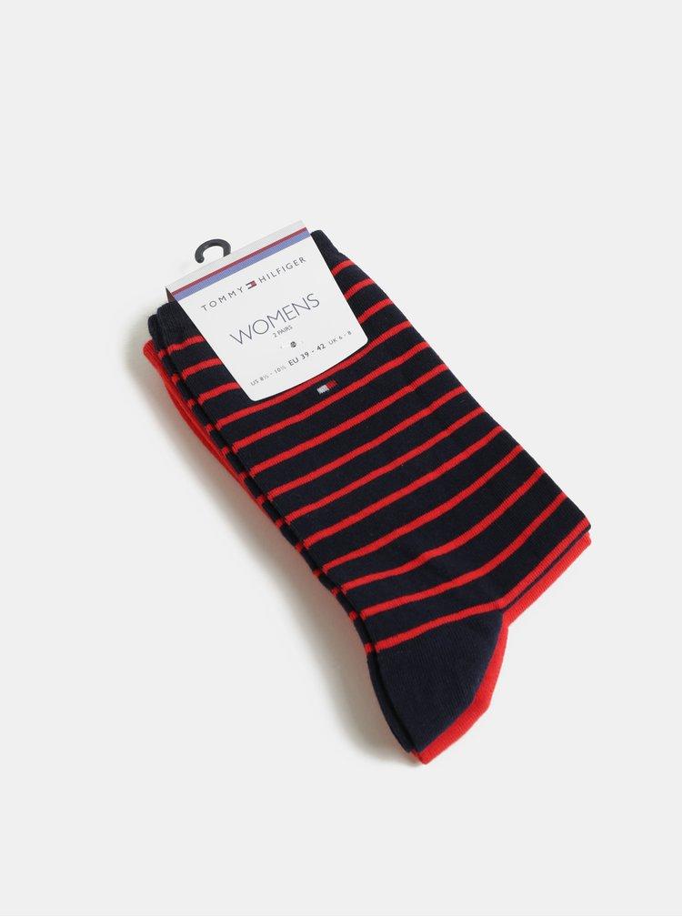 Balenie dvoch párov dámskych ponožiek v červenej a modrej farbe Tommy Hilfiger