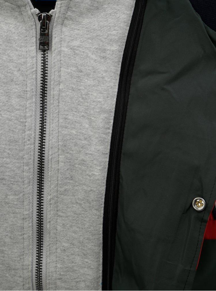 Jacheta bomber barbateasca albastru-verde cu hanorac cusut Superdry