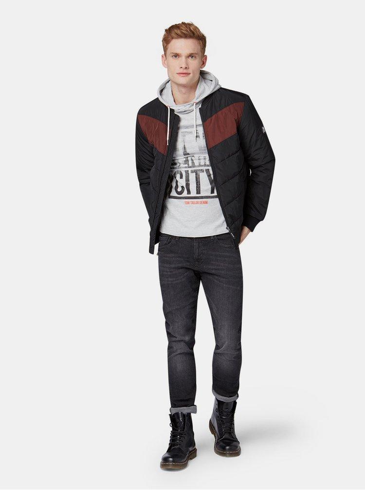 Světle šedé pánské tričko s kapucí Tom Tailor Denim