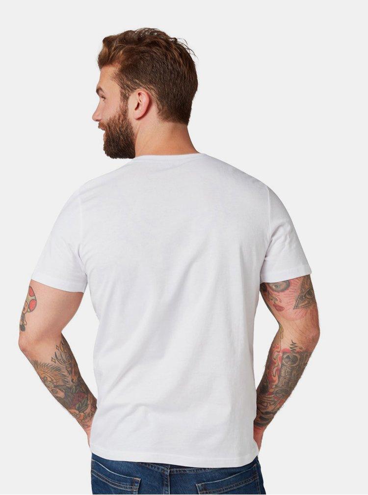 Tricou barbatesc alb cu imprimeu Tom Tailor