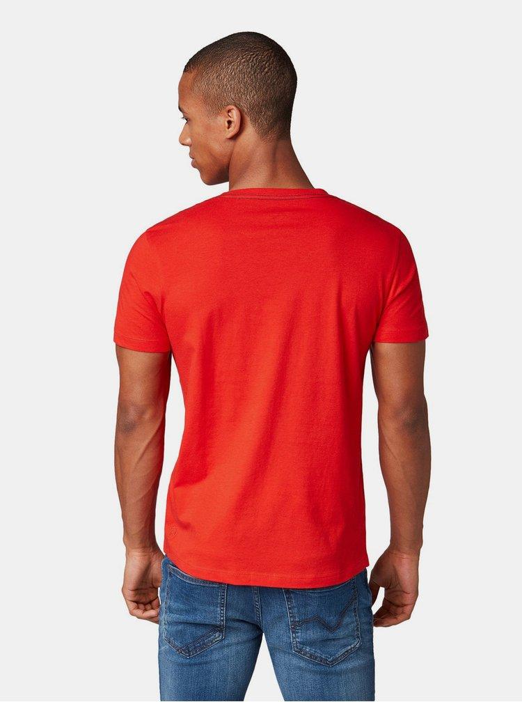Tricou barbatesc rosu cu imprimeu Tom Tailor Denim