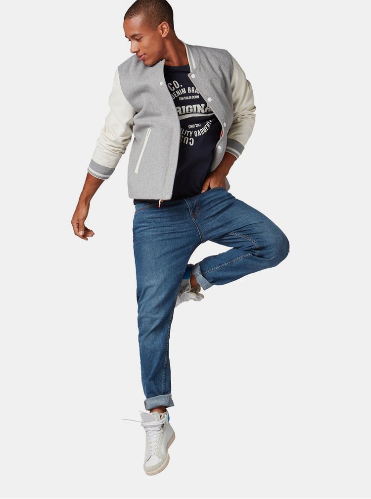 Tmavomodré pánske tričko s potlačou Tom Tailor Denim