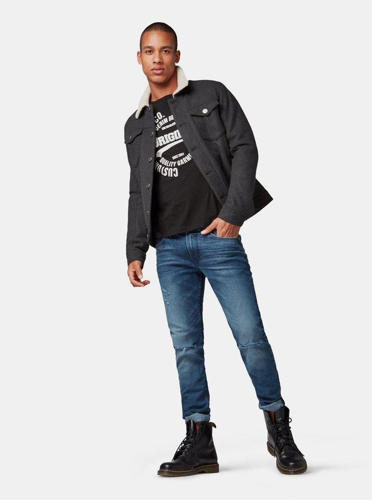 Tricou barbatesc negru cu imprimeu Tom Tailor Denim