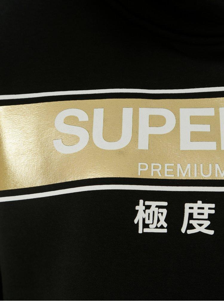 Hanorac negru de dama cu gluga si imprimeu Superdry