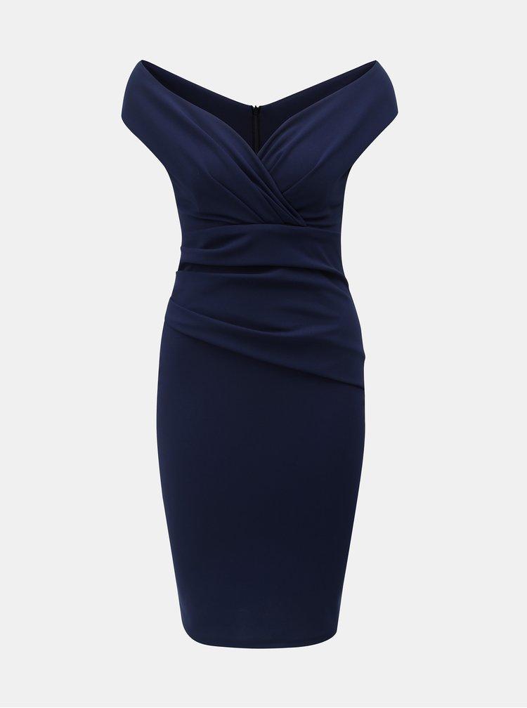 Tmavě modré pouzdrové šaty s řasením ZOOT