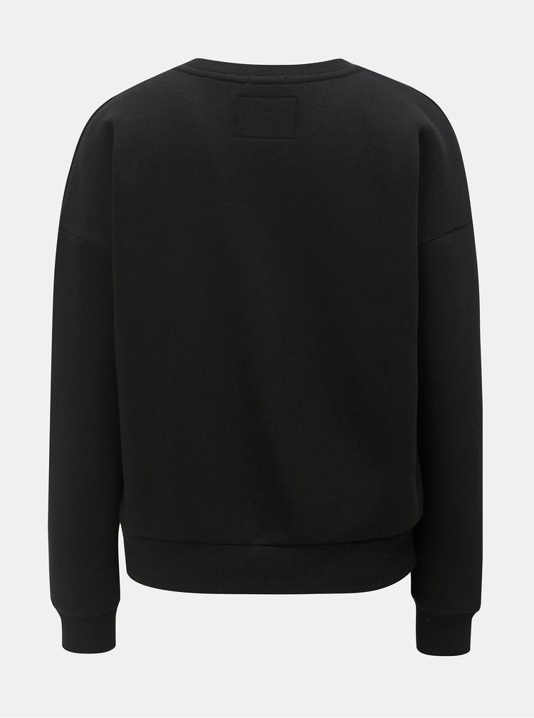 Bluza sport neagra de dama cu broderie Superdry