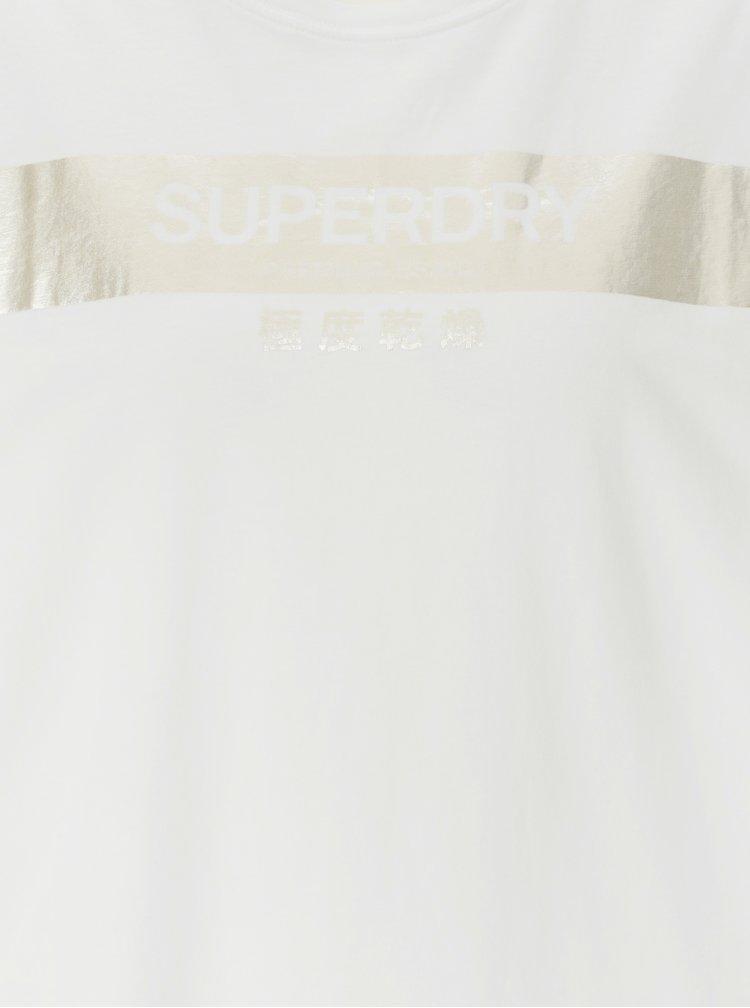 Bílé dámské volné tričko s potiskem Superdry