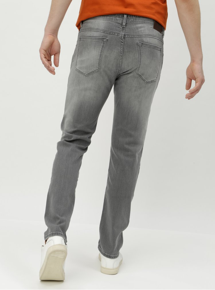 Blugi slim fit gri din denim cu aspect prespalat - Hackett London