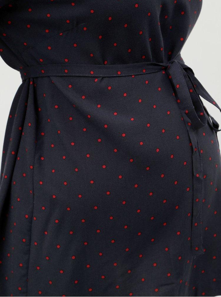 Tmavě modrá puntíkovaná těhotenská halenka se zavazováním Mama.licious Jamaia
