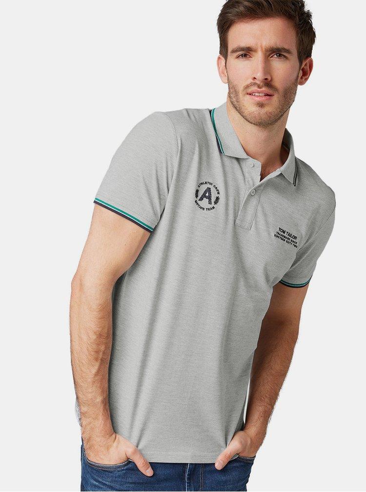 Světle šedé pánské regular fit polo tričko Tom Tailor