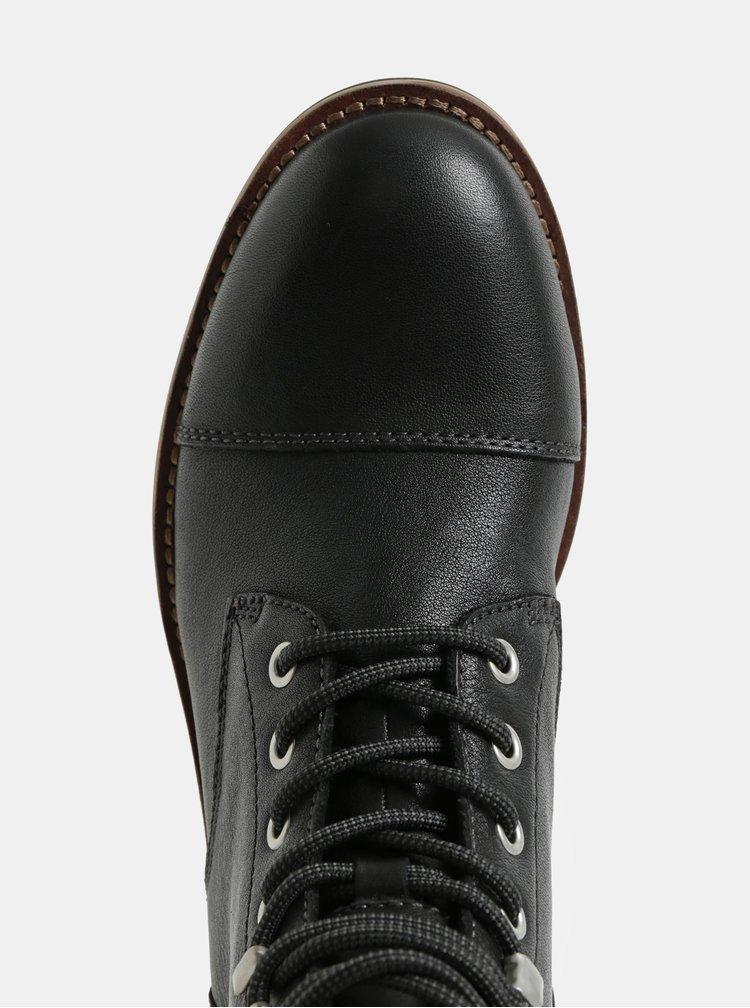 Čierne pánske kožené členkové topánky Vagabond Bruce