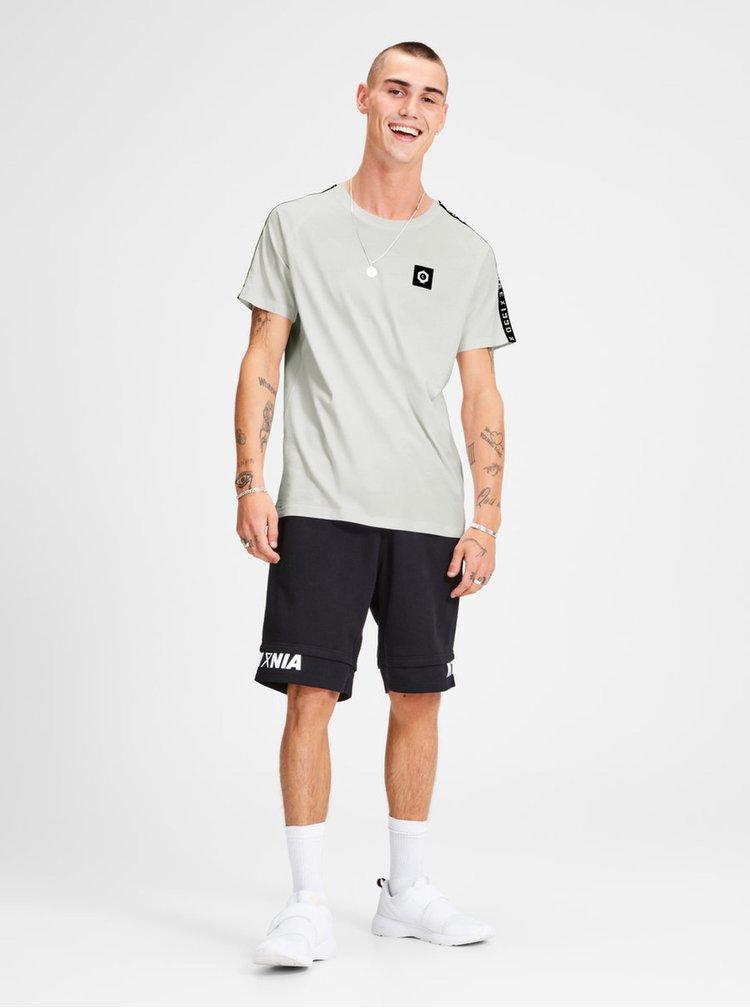 Sivé tričko s nášivkou a lemom Jack & Jones Kenny