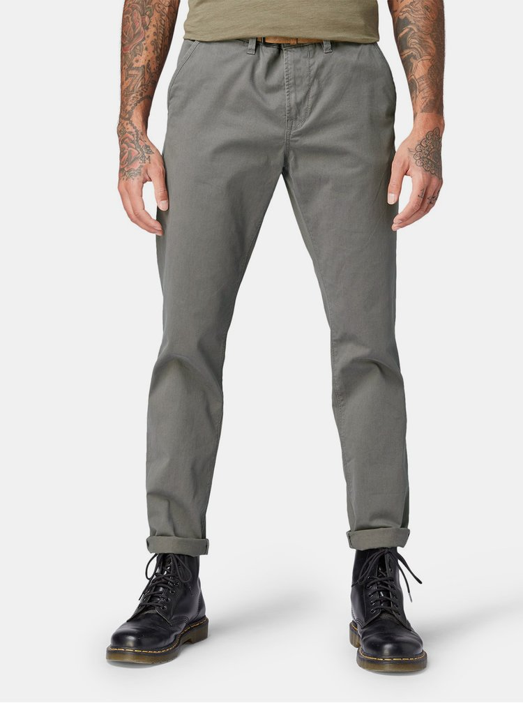 Pantaloni barbatesti gri slim chino Tom Tailor Denim