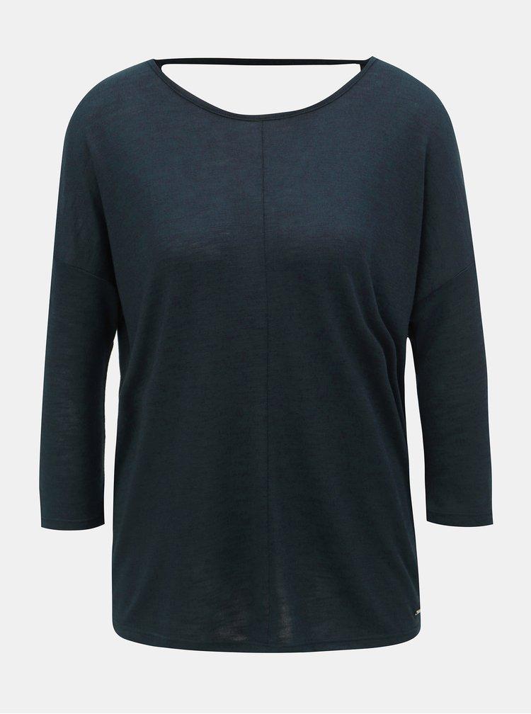 Tmavě modré dámské volné tričko s 3/4 rukávem Tom Tailor Denim