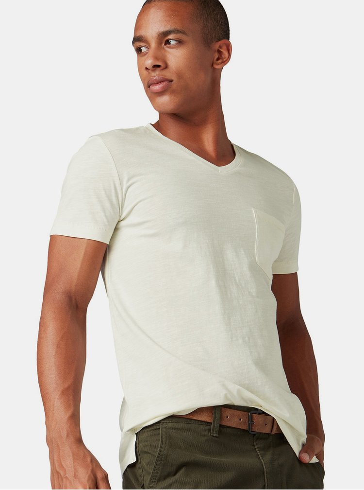 Krémové pánské tričko s náprsní kapsou Tom Tailor Denim
