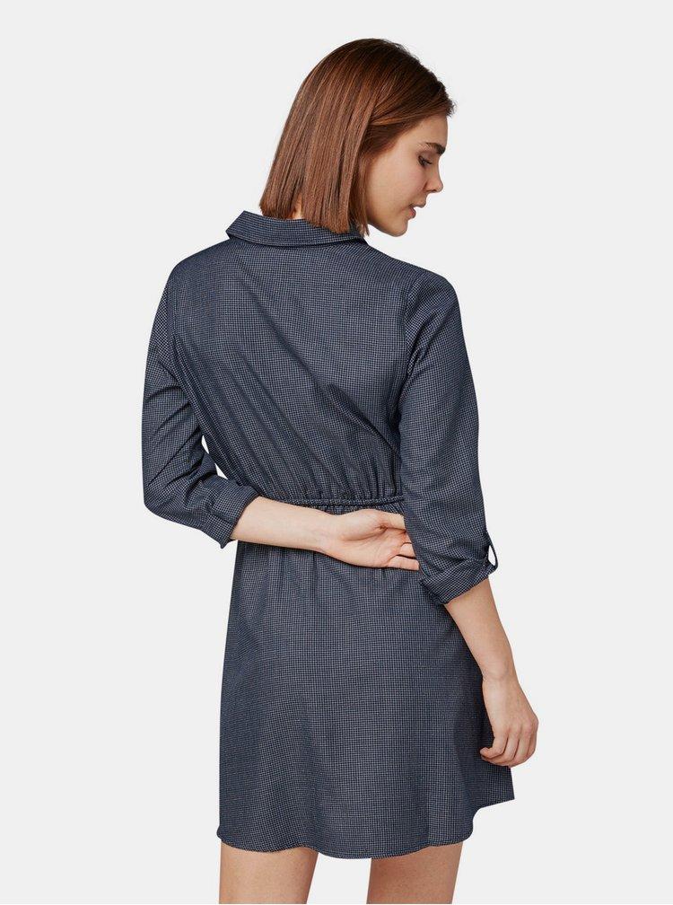 Tmavě modré kostkované košilové šaty Tom Tailor Denim