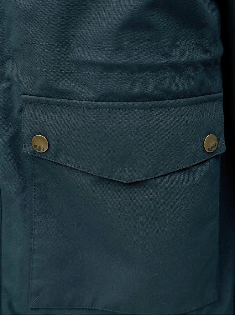 Tmavě modrá pánská parka s vnitřním umělým kožíškem Meatfly Rodney