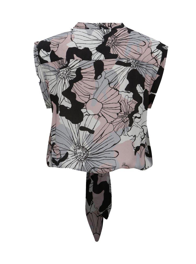 Růžovo-šedá květovaná krátká halenka na zavazování Fornarina Tiffany