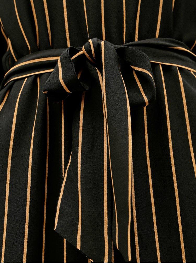 Černé pruhované midišaty Selected Femme Alessa