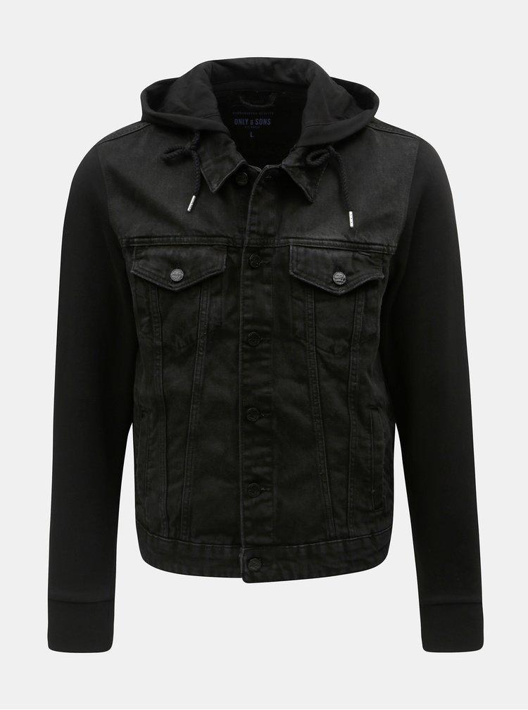 Čierna rifľová bunda s mikinovými rukávmi ONLY & SONS Coin