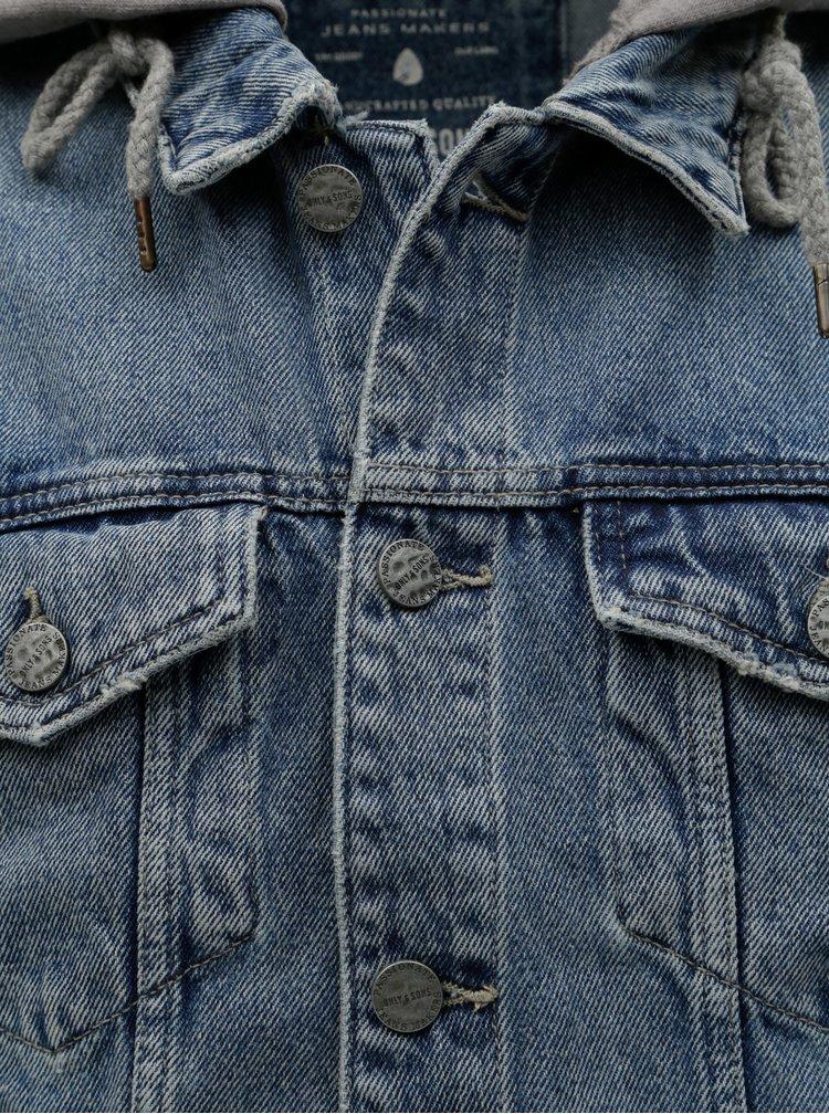 Jacheta gri-albastru din denim cu maneci din tricot ONLY & SONS Coin