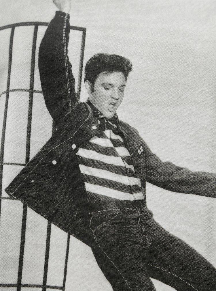 Biele voľné tričko s potlačou Noisy May Command Elvis Presley
