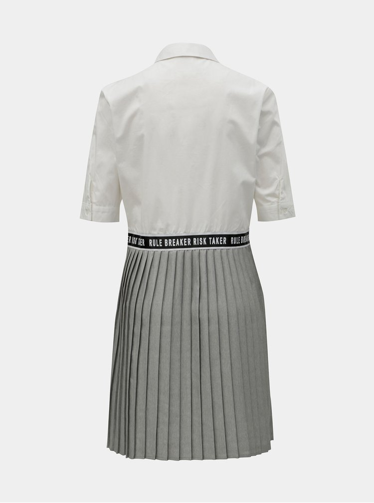 Šedo-bílé košilové šaty se skládanou sukní Noisy May Mallie
