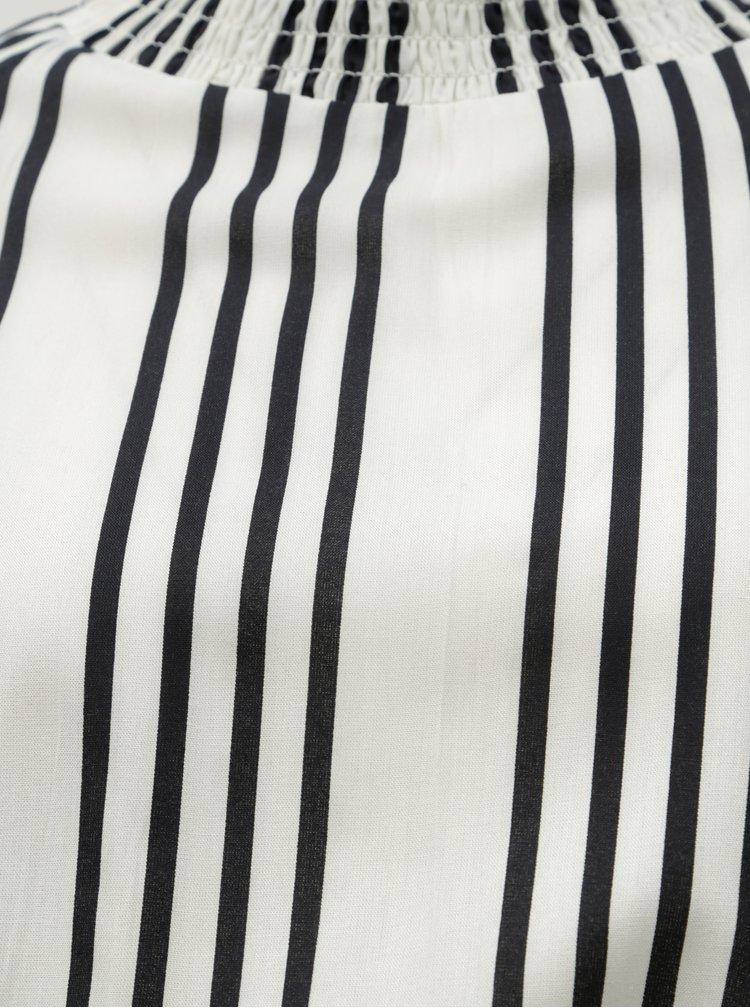 Čierno–krémové pruhované midišaty so stojačikom Noisy May Clara