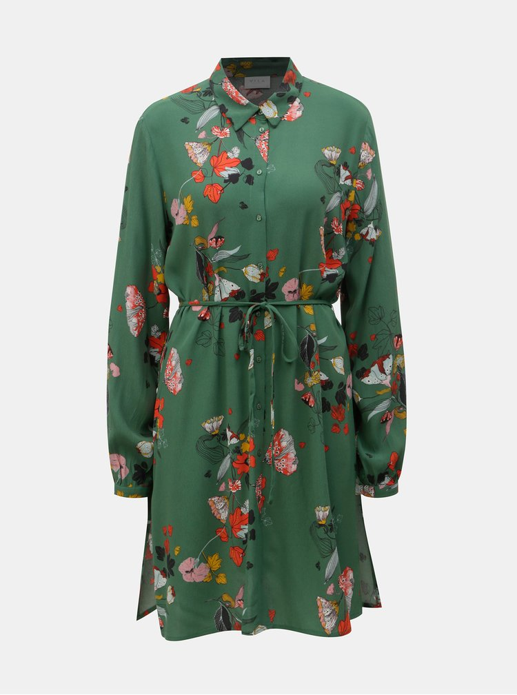 Zelená květovaná dlouhá košile s rozparky VILA Mule