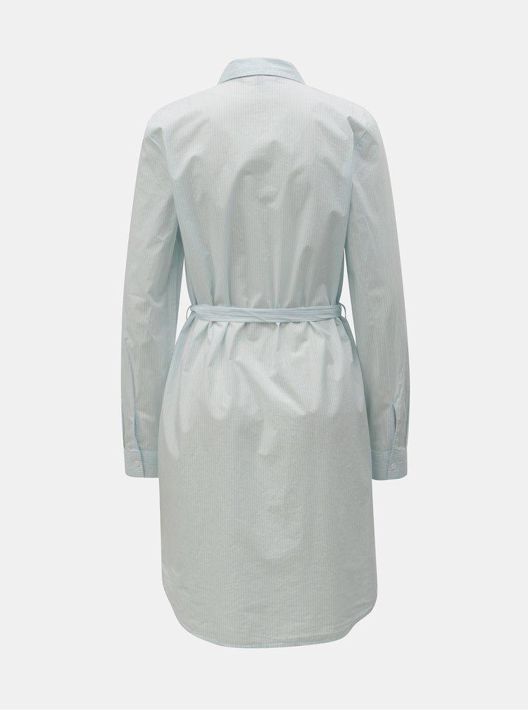 Bílo-modré košilové pruhované šaty s páskem VERO MODA Silje