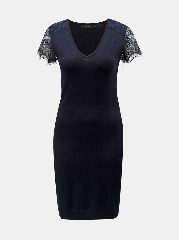 Tmavě modré šaty s krajkovými rukávy VERO MODA Lassi