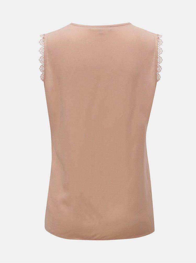 Světle růžový top s krajkovými detaily VERO MODA Lacey
