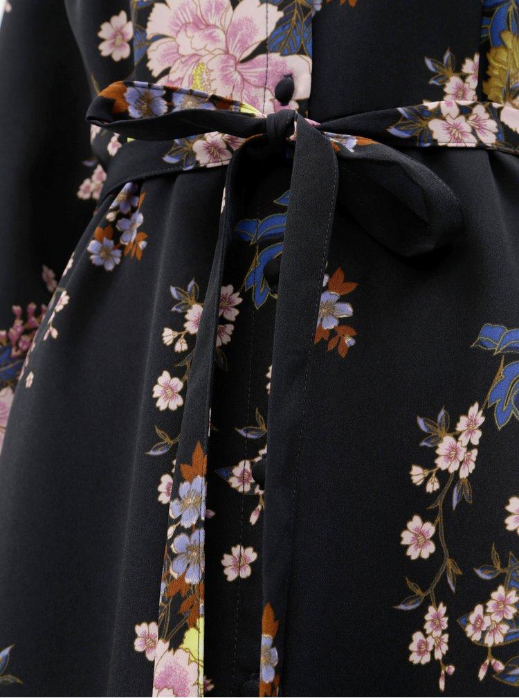 Tmavě modré květované košilové maxišaty VERO MODA Mikka