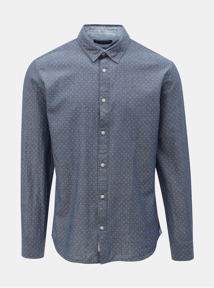 Modrá vzorovaná slim fit košeľa Jack & Jones Jason