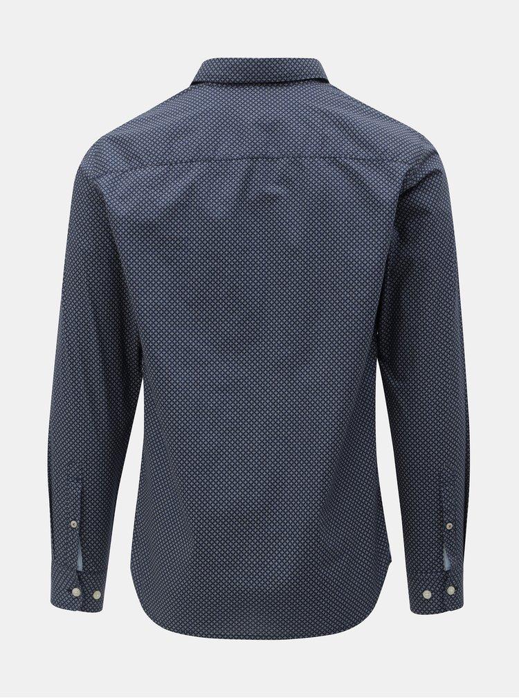 Tmavě modrá vzorovaná slim fit košile Jack & Jones Jason