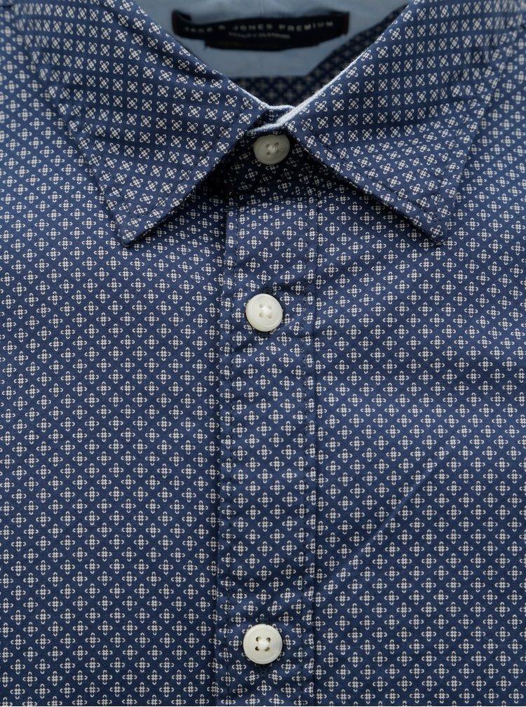 Camasa albastru inchis slim fit cu model Jack & Jones Jason